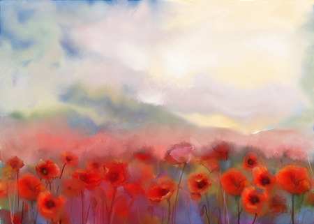 poppy flowers: Red poppy flowers filed  watercolor painting Stock Photo