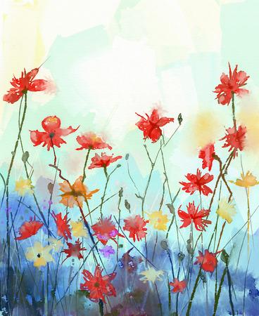 水彩花絵画ソフトの色し、スタイルをぼかし。ビンテージ絵画花。春、花の季節の自然の背景 写真素材