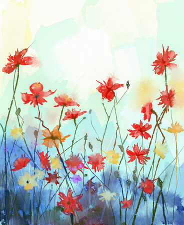 Watercolor flowers painting in soft color and blur style .Vintage painting flowers .Spring floral seasonal nature background