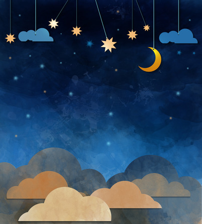 art and craft: Water color on grunge paper texture .Night sky,cloud, moon and star