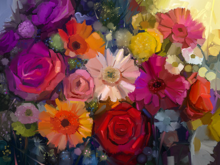 Stillleben mit gelben, roten und rosa Farbe Blume. Ölgemälde - Bunter Blumenstrauß aus Rosen, Gänseblümchen und Gerbera Blumen. Hand malen floralen impressionistischen Stil.