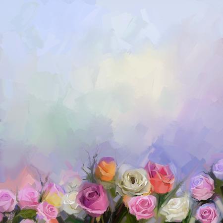 Abstrakte Blumen Malerei. Weiße Rosen Blumen In Pastellfarben Mit ...