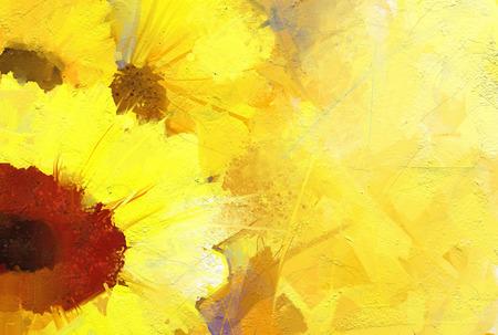 Olieverfschilderij gouden zonnebloem achtergrond.