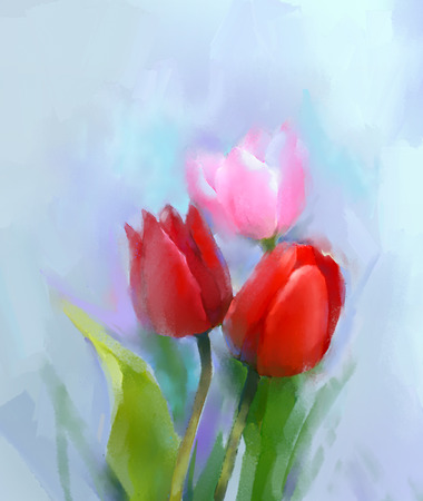 still life: Oil painting pink and red tulip flower with green leaves. Hand painted Still life floral in soft color background.