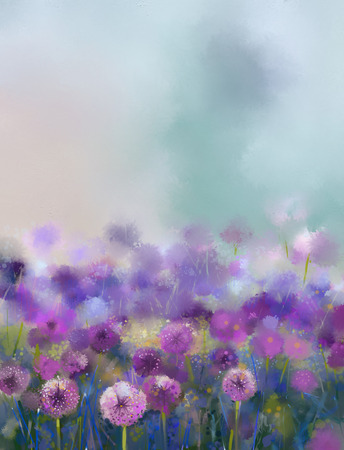 Oil painting Purple onion flower.Abstract flower painting in soft colorful ,Spring floral seasonal nature background