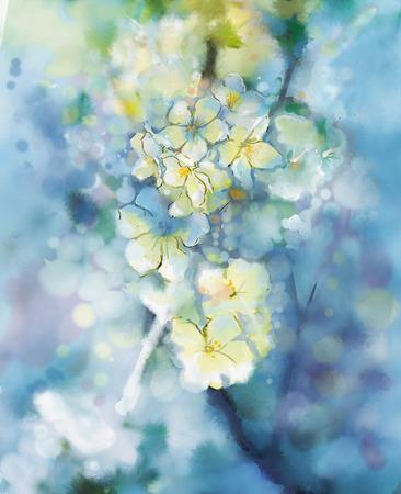 抽象的な水彩ペイント ソフトに白い梅の花カラフルでぼかし仕立て、ボケ味、春花季節自然明るい青の背景