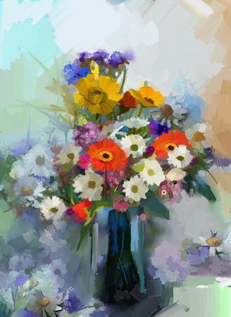 mixed flower bouquet: Vase with still life a bouquet of flowers. Oil painting