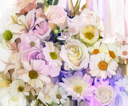 still life flowers: Still life of white color flowers with soft pink and purple background. Oil Painting Soft colorful Bouquet of rose, daisy, lily and gerbera flower. Hand Painted floral Impressionist style.