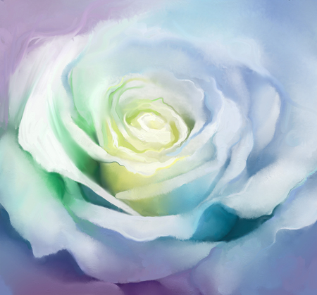 close: Close up of white rose petals. Oil painting flower create image in soft colorful with blurred brush strokes. Stock Photo