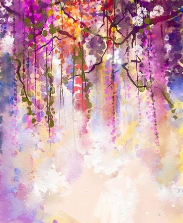oil pastels: Abstract flowers watercolor painting. Spring purple flowers Wisteria with bokeh background Stock Photo