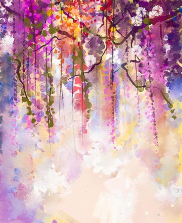 colores pastel: Resumen flores pintura de la acuarela. Primavera flores de color púrpura de las glicinias con el fondo bokeh Foto de archivo