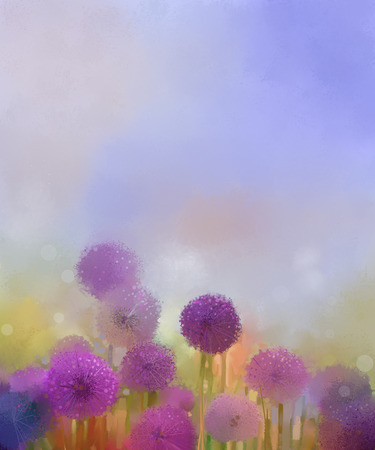 onion flowers: Pastel colors light purple onion flower in the meadows. Abstract oil painting field of onion flowers at sunset in soft colorful and blur style with bokeh background.