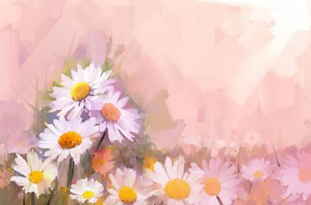 Gerbera bloem olie painting.Flowers in zachte kleur voor background.Vintage schilderij bloemen