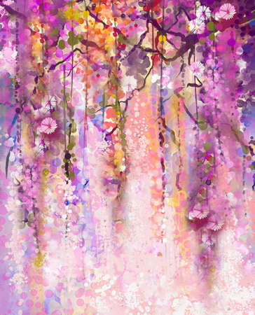 water  scenic: Abstract flowers watercolor painting. Spring purple flowers Wisteria background