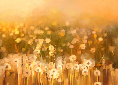 Vintage dandelion flowers in the meadows. Abstract oil painting sunset at flower field in soft golden brown color and blur style with bokeh background.