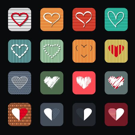 red shape: Vector illustration icon set of red hearts shape for Valentines Day.  Illustration