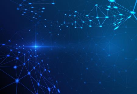 어두운 파란색 배경에 추상 분자 구조. 통신의 벡터 일러스트 레이 션 - 미래의 기술 개념의 네트워크