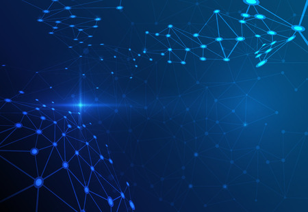 estructura: Estructura de la molécula abstracta sobre fondo azul oscuro color. Ilustración del vector de comunicación - la red para el concepto de la tecnología futurista