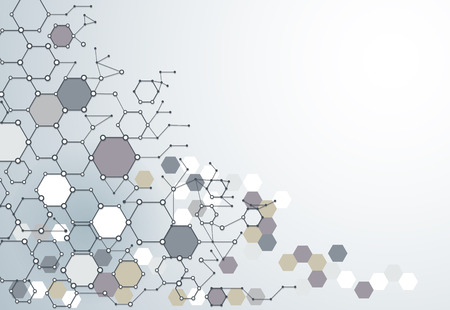 Abstract  Dna molecule structure with Polygon on light gray color background. Vector illustration of Communication - network for futuristic technology concept