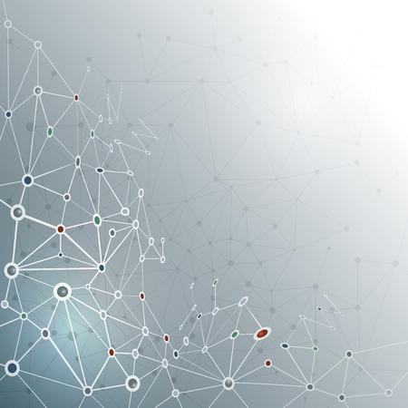 připojení: Abstraktní molekula struktura na šedém barevném pozadí. Vektorové ilustrace komunikace - sítě pro futuristické technologické koncepce Ilustrace