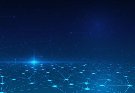 통신: 어두운 파란색 배경에 추상 분자 구조. 통신의 벡터 일러스트 레이 션 - 미래의 기술 개념의 네트워크