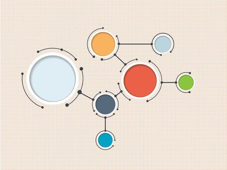 통신: 통합 된 종이 원과 빈 공간 콘텐츠에 대한, 인포 그래픽 템플릿, 통신, 사업, 네트워크 및 웹 디자인 추상 분자. 벡터 일러스트 레이 션 소셜 미디어 기 일러스트