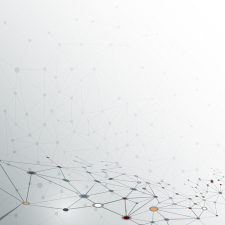 色はライトグレーの背景に分子構造を抽象化します。通信 - 未来技術の概念のためのネットワークのベクトル イラスト
