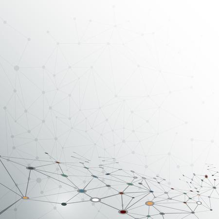 밝은 회색 컬러 배경에 추상 분자 구조. 통신의 벡터 일러스트 레이 션 - 미래의 기술 개념 네트워크 일러스트