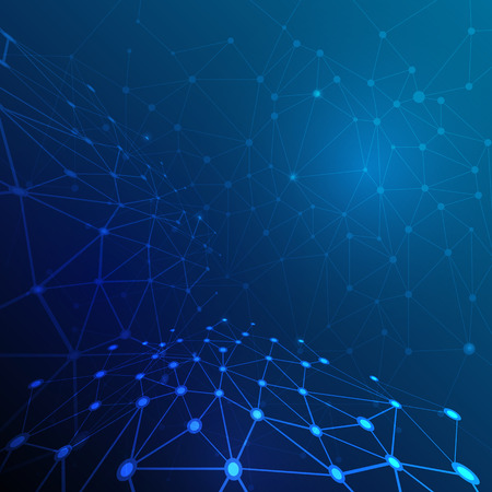 Abstract molecule structure on dark blue color background. Vector illustration of Communication - network for futuristic technology concept Illustration