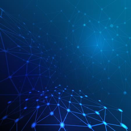 Abstracte molecule structuur op donkerblauwe kleur achtergrond. Vector illustratie van communicatie - netwerk voor de futuristische technologie-concept