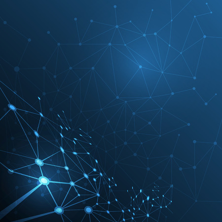 atomo: Estructura de la mol�cula abstracta sobre fondo azul oscuro color. Ilustraci�n del vector de comunicaci�n - la red para el concepto de la tecnolog�a futurista
