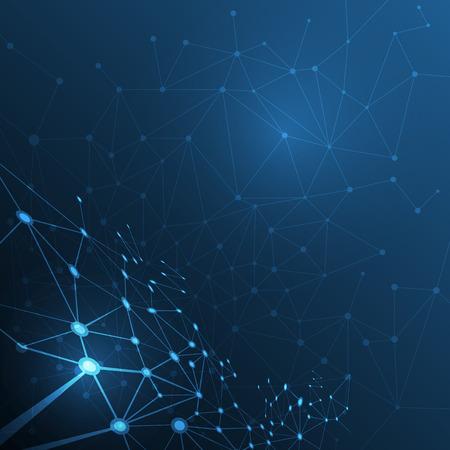 Structure de molécule abstraite sur fond bleu foncé. Vector illustration de la Communication - réseau pour concept de technologie futuriste Vecteurs