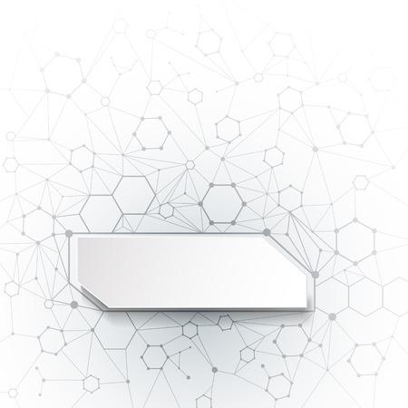 molecula: Extracto del vector moléculas con papel 3D sobre fondo gris claro. Comunicación-social Concepto de tecnología de medios. etiqueta cuadrada de papel 3D con espacio para el diseño de contenidos web, los negocios, la red y