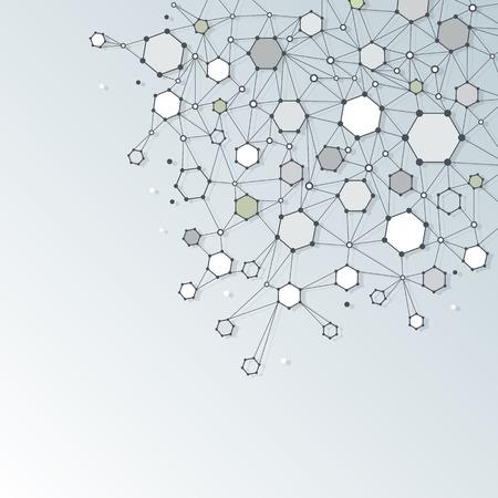 adn humano: Resumen estructura de la molécula de ADN con polígono de la luz de fondo de color gris. Ilustración del vector de comunicación - la red para el concepto de la tecnología futurista