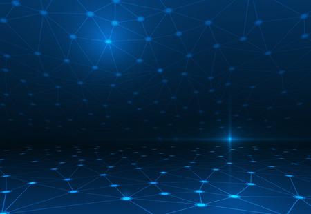 濃い青の背景に分子構造を抽象化します。通信 - 未来技術の概念のためのネットワークのベクトル イラスト