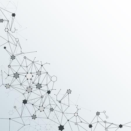 ライトグレー色の背景にポリゴンを持つ Dna 分子構造を抽象化します。通信 - 未来技術の概念のためのネットワークのベクトル イラスト