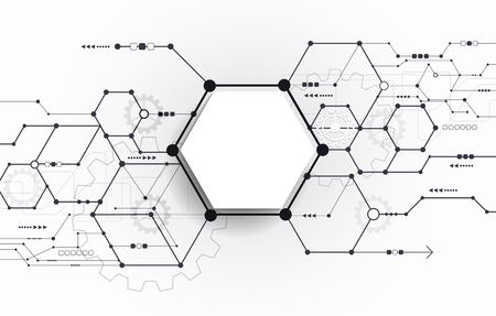 electronic background: Vector Abstract futuristic circuit board on light gray background, hi-tech digital technology concept. Blank white 3d paper polygon label with space for your content, business, network and web design Stock Photo