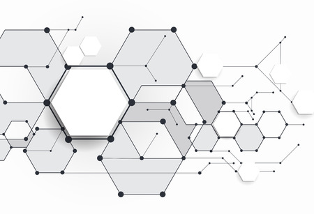 abstract technology: Vector Abstract molecules with 3D paper polygon on light gray background. Communication-social media technology concept. 3D paper label with space for your content, business, network and web design Stock Photo