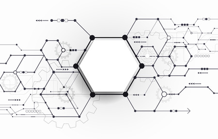 Vector Abstract futuristic circuit board on light gray background, hi-tech digital technology concept. Blank white 3d paper polygon label with space for your content, business, network and web design  イラスト・ベクター素材