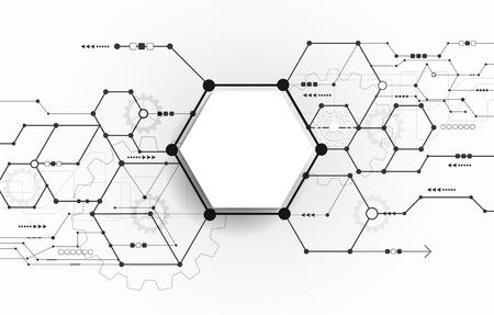 circuitos electronicos: Placa de circuito futurista abstracto del vector en el fondo gris claro, de alta tecnología de la tecnología digital concepto. Blanco 3d etiqueta polígono Papel en blanco con el espacio para su contenido, los negocios, la red y el diseño web Vectores