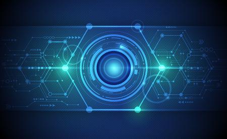 globo ocular: Resumen de vectores de globo ocular futurista en la placa de circuito, de alta tecnolog�a inform�tica ilustraci�n sobre fondo de color verde y azul. Concepto de alta tecnolog�a de la tecnolog�a digital