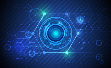 globo ocular: Resumen de vectores de globo ocular futurista en la placa de circuito, de alta tecnología informática ilustración sobre fondo de color verde y azul. Concepto de alta tecnología de la tecnología digital