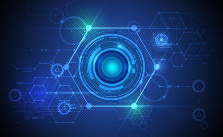 Vectorielle Abstract globe oculaire futuriste sur carte de circuit, Illustration technologie informatique haute sur le vert et le bleu la couleur de fond. Salut-tech concept de la technologie numérique Vecteurs