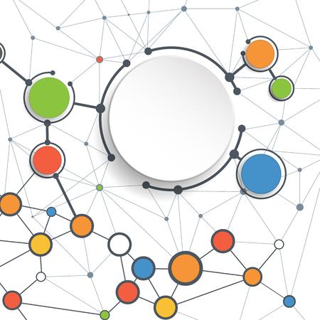 RESEAU: Résumé des molécules et des technologies de la communication avec des cercles intégrés avec un espace vierge pour votre conception. Vector illustration de concept global de médias sociaux. Blanc couleur de fond. Illustration
