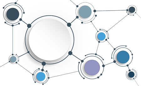 computer network diagram: Vector Abstract molecules with 3D paper on light gray background. Communication-social media technology concept. 3D paper circle label with space for your content, business, network and web design