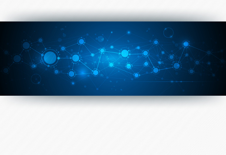 Abstract molecule structure on blue color background. Vector illustration of  network for futuristic technology concept. Blank space for your content, template, communication, business and web design  イラスト・ベクター素材