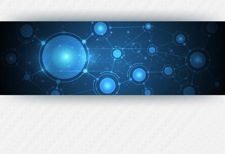 통신: 파란색 배경에 추상 분자 구조. 미래의 기술 개념 네트워크의 벡터 일러스트 레이 션. 콘텐츠, 템플릿, 커뮤니케이션, 비즈니스, 웹 디자인을위한 빈 공