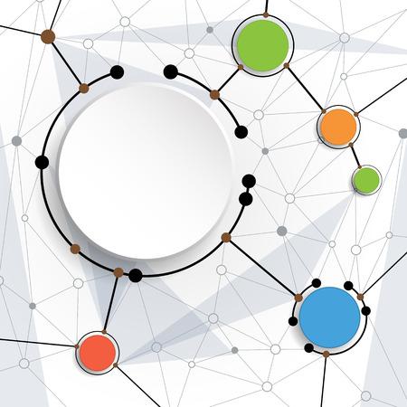 molécules Vector Résumé avec du papier 3D sur fond gris clair. Communication-social concept de la technologie des médias. 3D étiquette de cercle de papier avec un espace pour votre contenu, entreprise, réseau et web design