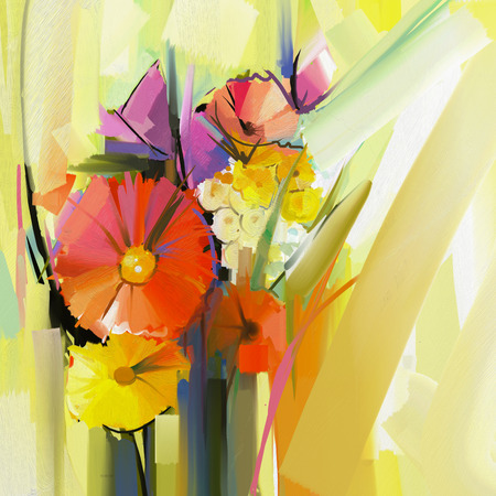 still life flowers: Abstract oil painting of spring flower. Still life of yellow and red gerbera flowers. Hand Paint floral Impressionist style