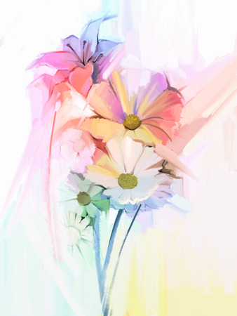Nature morte de fleurs de couleur blanche avec rose tendre et violet. Peinture à l'huile de Bouquet souple coloré de marguerite, fleur de lys et de gerbera. Peint à la main style doux pastel couleur.
